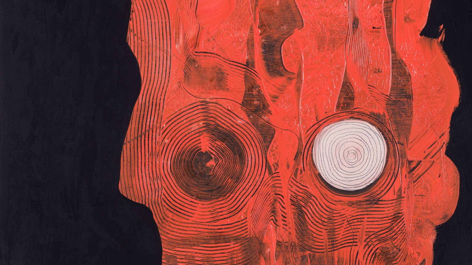 En oljemålning av en röd huvudlik form på en svart bakgrund, där ett litet vitt träd växer ur en spets på formen.