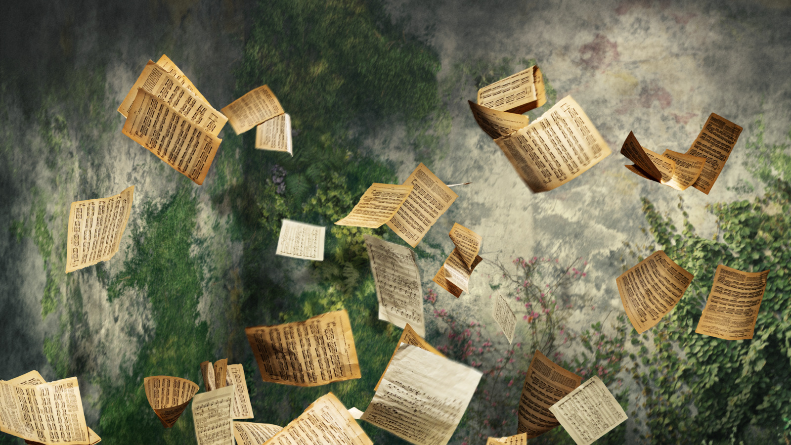Sheets of musical notes floating in the air against a green background.