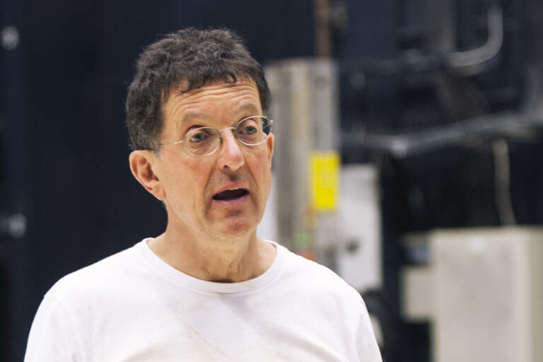 Antony Gormley presents during in a clay workshop with the dancers from the company.